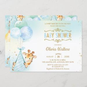 Whimsical Cute Giraffe Balloons Baby Shower Boy Invitation