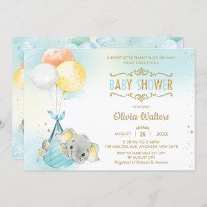 Whimsical Elephant Balloons Baby Shower Boy Invitation