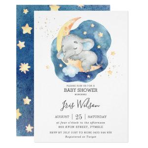 Whimsical Elephant Twinkle Star Baby Shower Boy Invitation