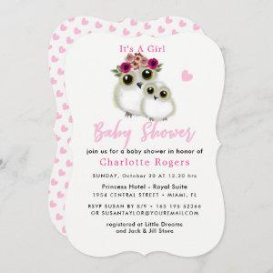 Whimsical Owls Cute Baby Shower Pink