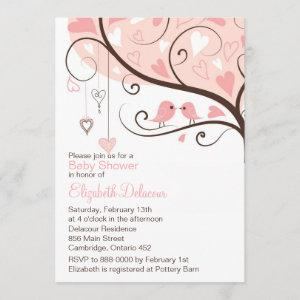 Whimsical Pink Birds Baby Shower Invitation