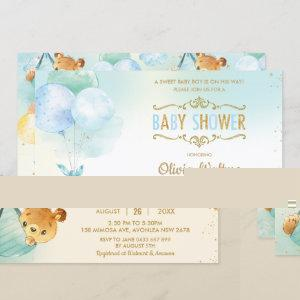 Whimsical Teddy Bear Balloons Baby Shower Boy Invitation