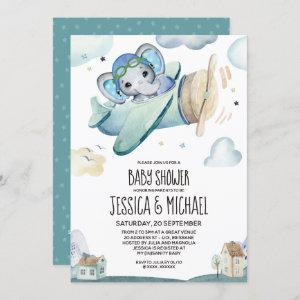 Whimsical Watercolor Elephant Airplane Baby Shower Invitation