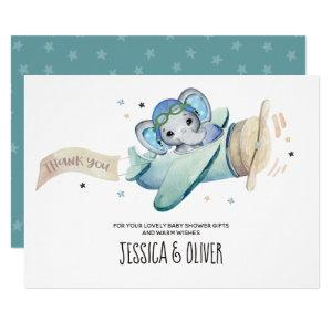 Whimsical Watercolor Elephant Airplane Thank You Invitation