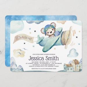 Whimsical Watercolor Pilot Teddy Bear Invitation