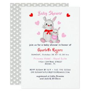 Whimsy Super Cute Bunny Rabbits Baby Shower Invite