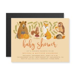 Whimsy Woodland Animals Pumpkin Fall Baby Shower Magnetic
