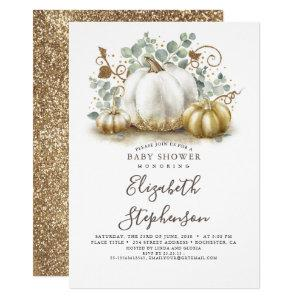 White and Gold Pumpkins Fall Baby Shower Invitation