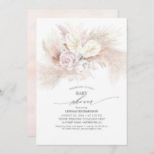 White Anthurium and Pampas Grass Baby Shower