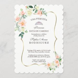 White Blush Flowers Invitación de Baby Shower Invitation