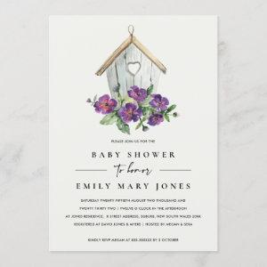 WHITE BOHO RUSTIC FLORAL BIRDHOUSE BABY SHOWER