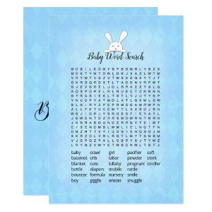 White Bunny Blue Argyle Baby Word Search Game Invitation