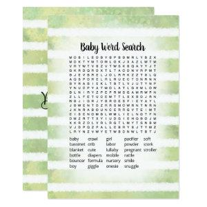 White Bunny Green Baby Word Search Game Card
