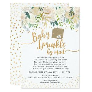 White Floral Baby Sprinkle by mail baby shower Invitation