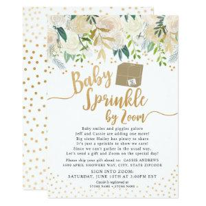 White Floral Baby Sprinkle by ZOOM baby shower Invitation