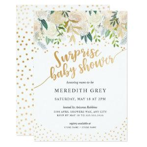 White Floral Surprise Baby Shower Invitation