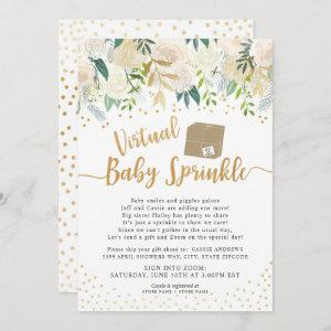 White Floral Virtual Baby Sprinkle baby shower Invitation