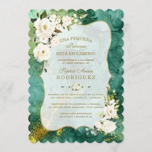 White Flowers Malachite Gold Spanish Baby Shower Invitation