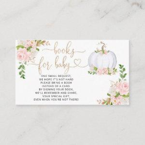 White, gold pumpkin fall books for baby ticket enclosure card