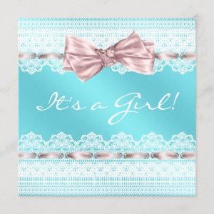 White Lace Pink Ribbon Teal Blue Baby Shower Invitation