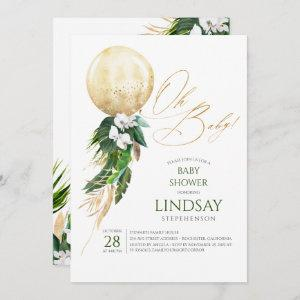 White Orchids Palm Leaves Gold Balloon Oh Baby Invitation