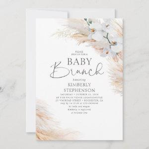 White Orchids Pampas Grass Brunch Baby Shower