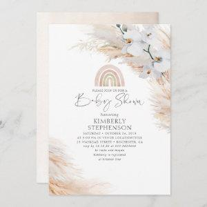 White Orchids Pampas Grass Rainbow Baby Shower