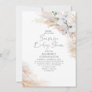 White Orchids Pampas Grass Surprise Baby Shower