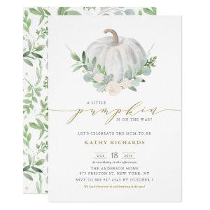 White Pumpkin and Greenery Fall Baby Shower Invitation