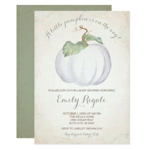 White Pumpkin Little Pumpkin Baby Shower Invite