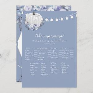 White Pumpkin Who's My Mommy Baby Shower Game Invitation
