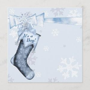 White Winter Blue Snowflakes Baby Boy Shower