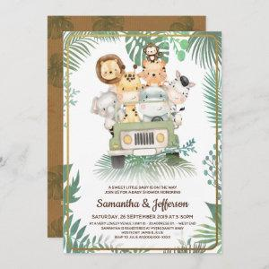 Wild One Cute Safari Animals Baby Shower Invitation