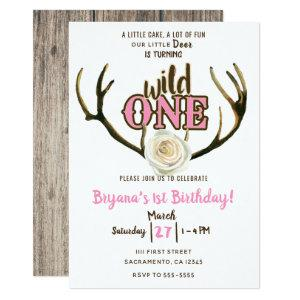 Wild One Deer Antlers Rose Pink 1st Birthday Party Invitation