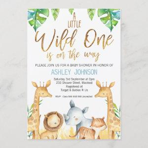 Wild One Safari Animals Baby Shower Invitation