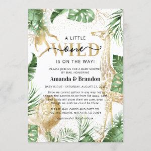 Wild One Safari Green & Gold Baby Shower By Mail Invitation