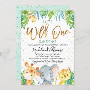 Wild One Safari Jungle Baby Shower invitation