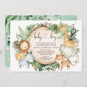 Wild Safari Greenery Jungle Boy Baby Shower Invitation