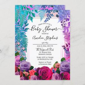 Wild Tropical Boho  Floral Girl Baby Shower Invitation
