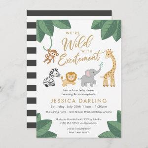 Wild with Excitement Jungle theme baby shower Invitation