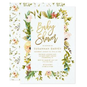 Wildflower Watercolor GOLD Calligraphy Baby Shower Invitation