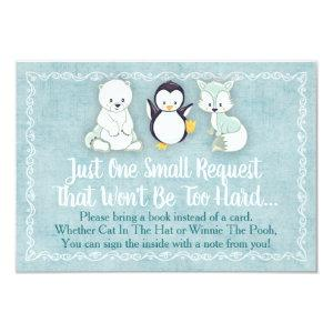 Winter Animals Baby Shower Bring A Book Card