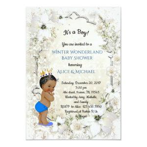 Winter Baby Shower Boy, white,Winter Wonderland Invitation