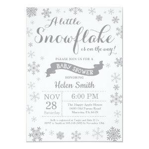 Winter Baby Shower Invitation Gray Snowflake