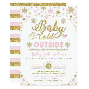 Winter Baby Shower Invitation Pink Gold Snowflake