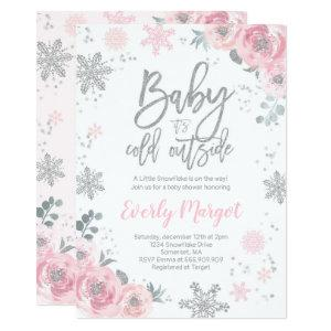 Winter Baby Shower Invitation Pink Silver Glitter