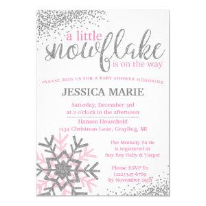 Winter Baby Shower Invitation - Pink Snowflake