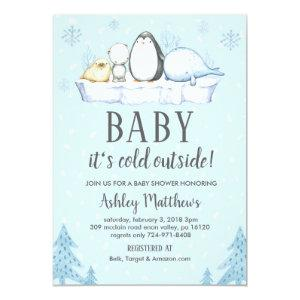 winter baby shower invite, winter animals artic invitation