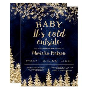 Winter Christmas gold snow pine navy  baby shower Invitation
