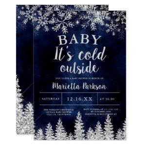 Winter Christmas silver snow pine navy baby shower Invitation